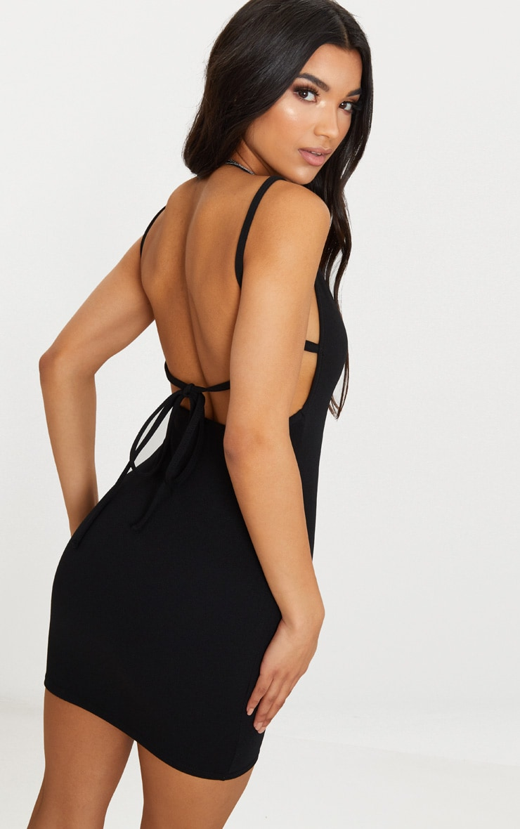 Black Strappy Back Halterneck Bodycon Dress 2
