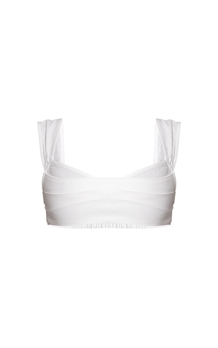 White Linen Feel Pleat Detail Wide Strap Bralet 5