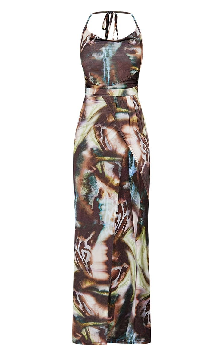 Multi Abstract Print Slinky Cowl Neck Cut Out Maxi Dress 5