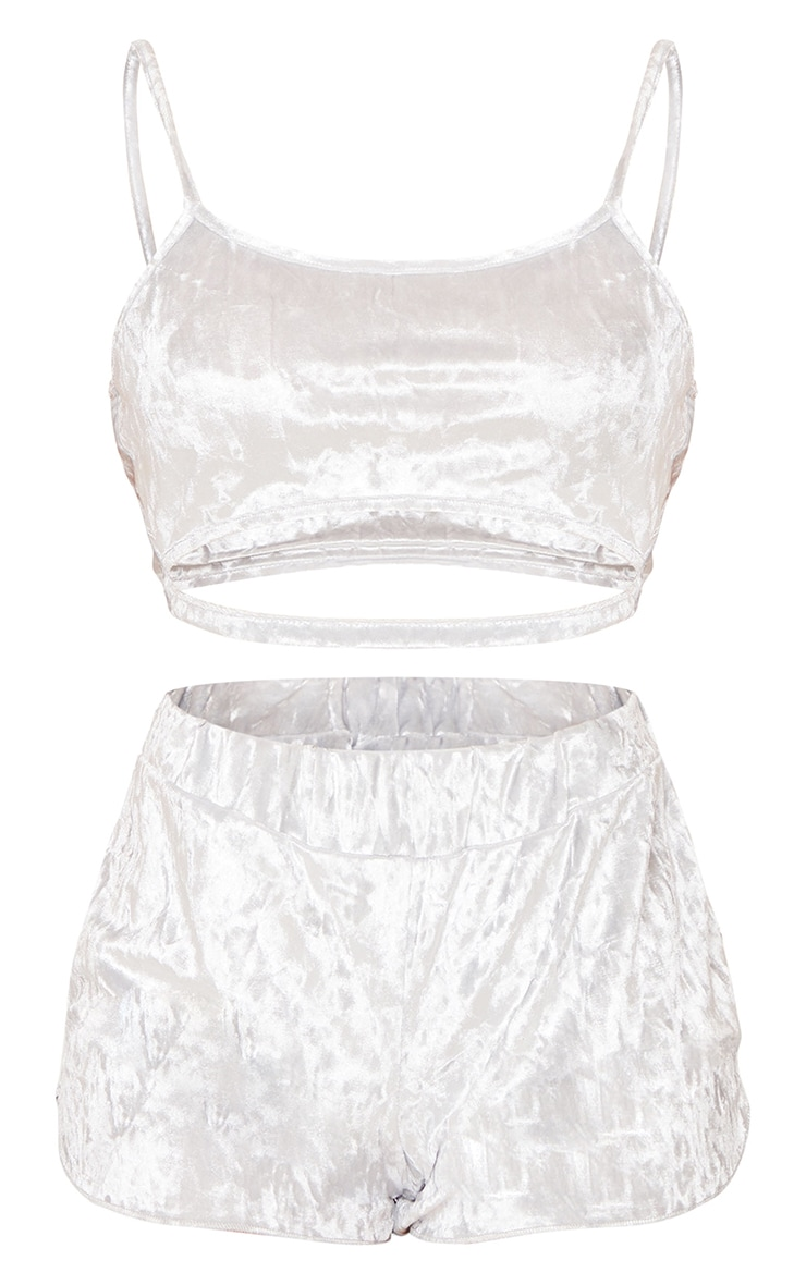 Grey Velvet Cut Out Detail Cami And Short PJ Set 5