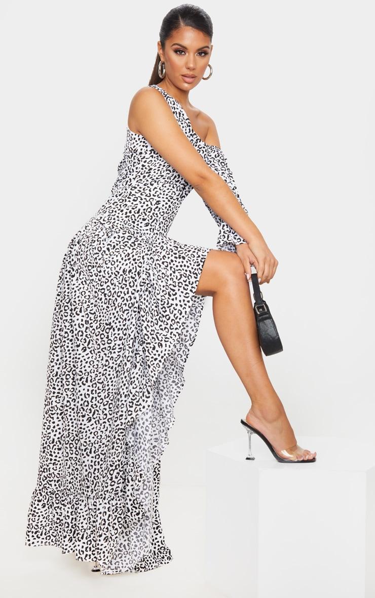 White Leopard Print One Shoulder Frill Detail Maxi Dress 1