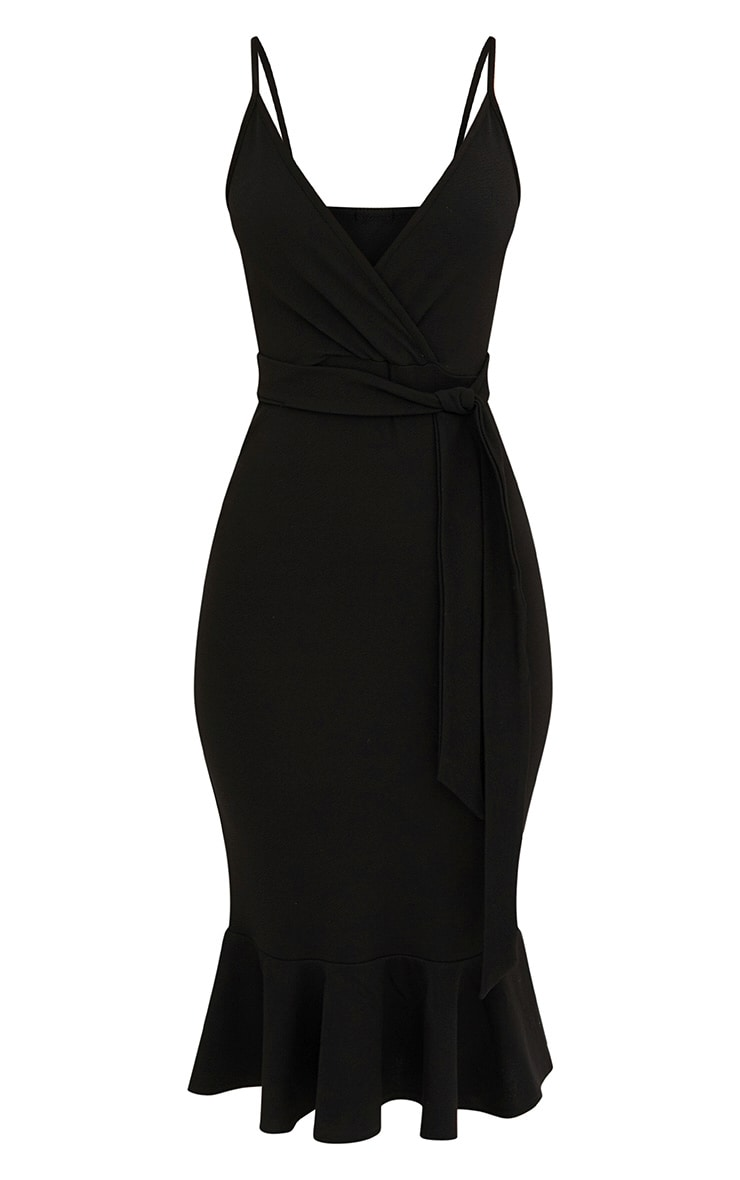 Black Strappy Tie Waist Fishtail Midi Dress 3