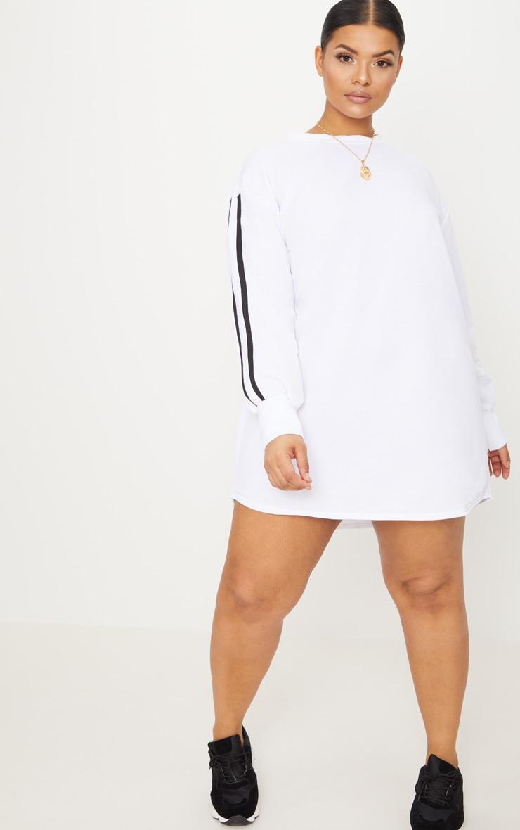 Plus White Sports Stripe Sweater Dress 4