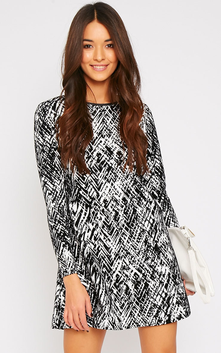 Frances Monochrome Abstract Print Flocked Swing Dress 1