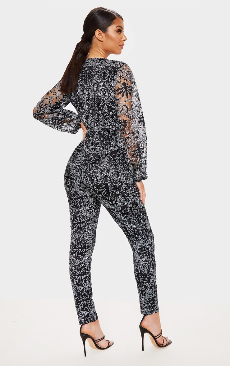 Black Sheer Paisley Long Sleeve Jumpsuit 2