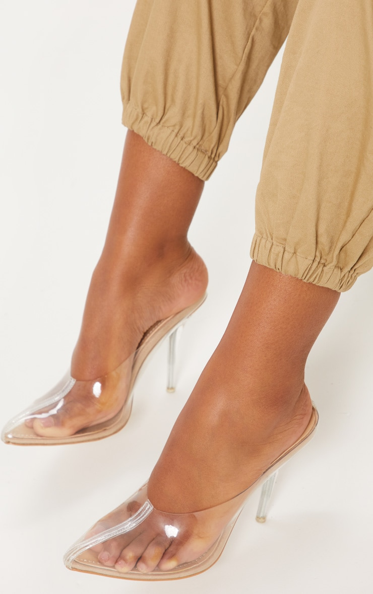 Nude Clear Mule Court Shoes  1