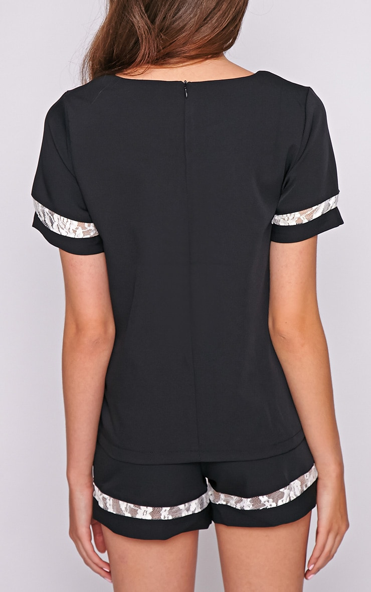 Angelina Black Boxy Top with Lace Detail 2