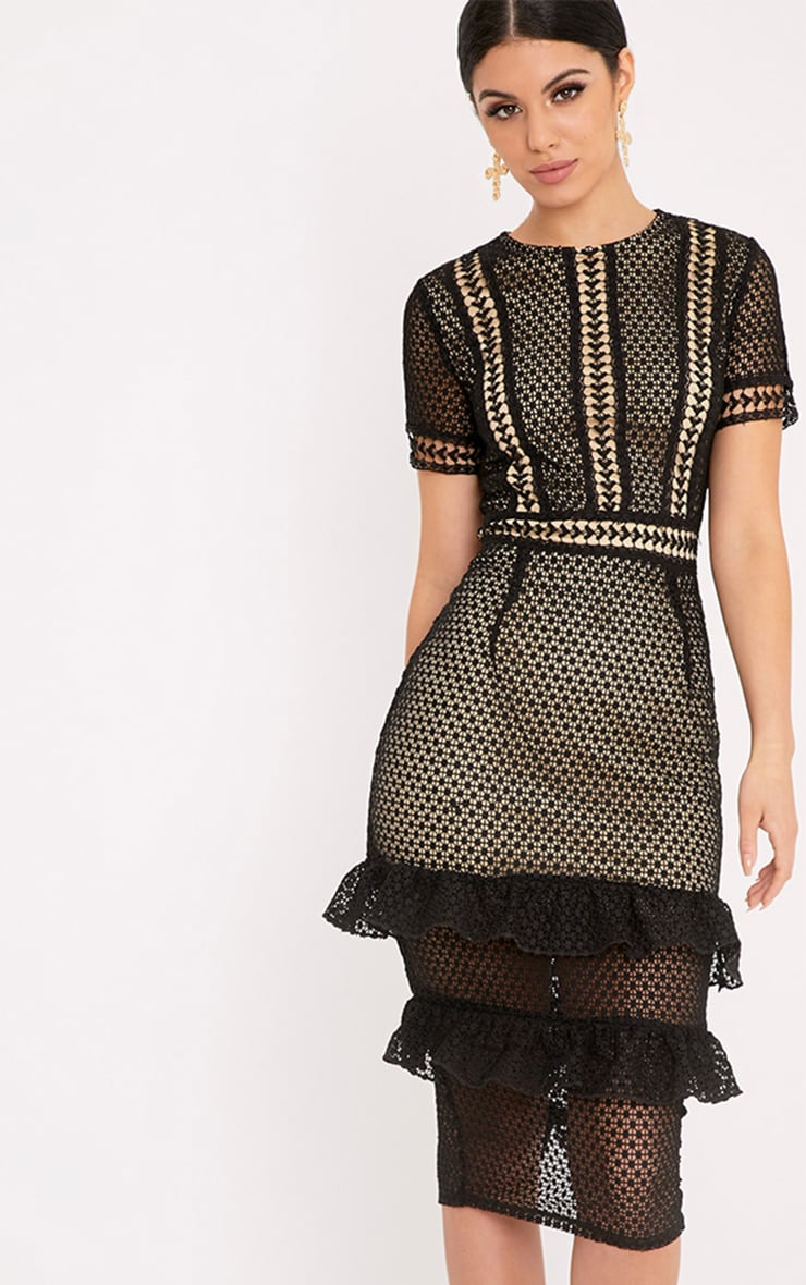 Anna Black Lace Frill Midi Dress 1