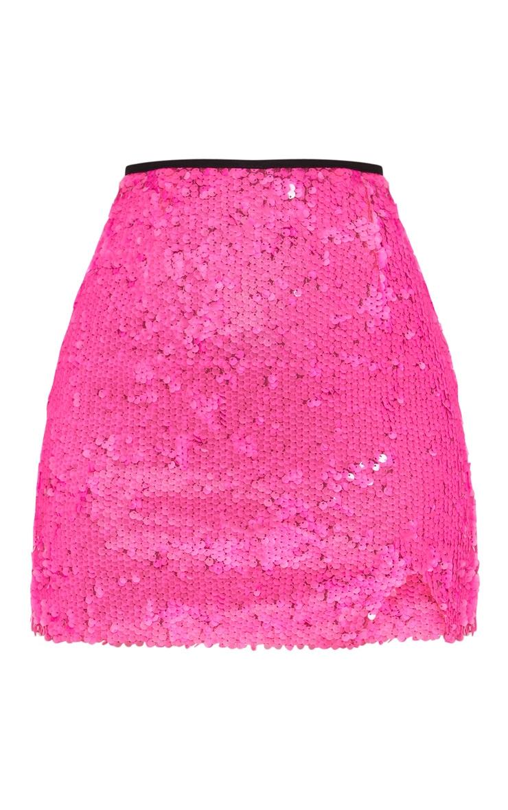 Petite Fuchsia Sequin Bodycon Skirt 3