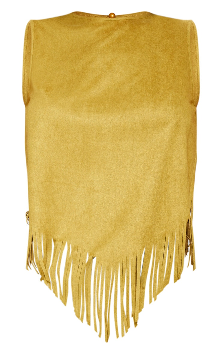 Tan Faux Suede Tassel Hem Sleeve Top 3