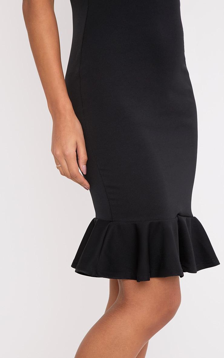 Mikaela Black Plunge Frill Hem Midi Dress 5