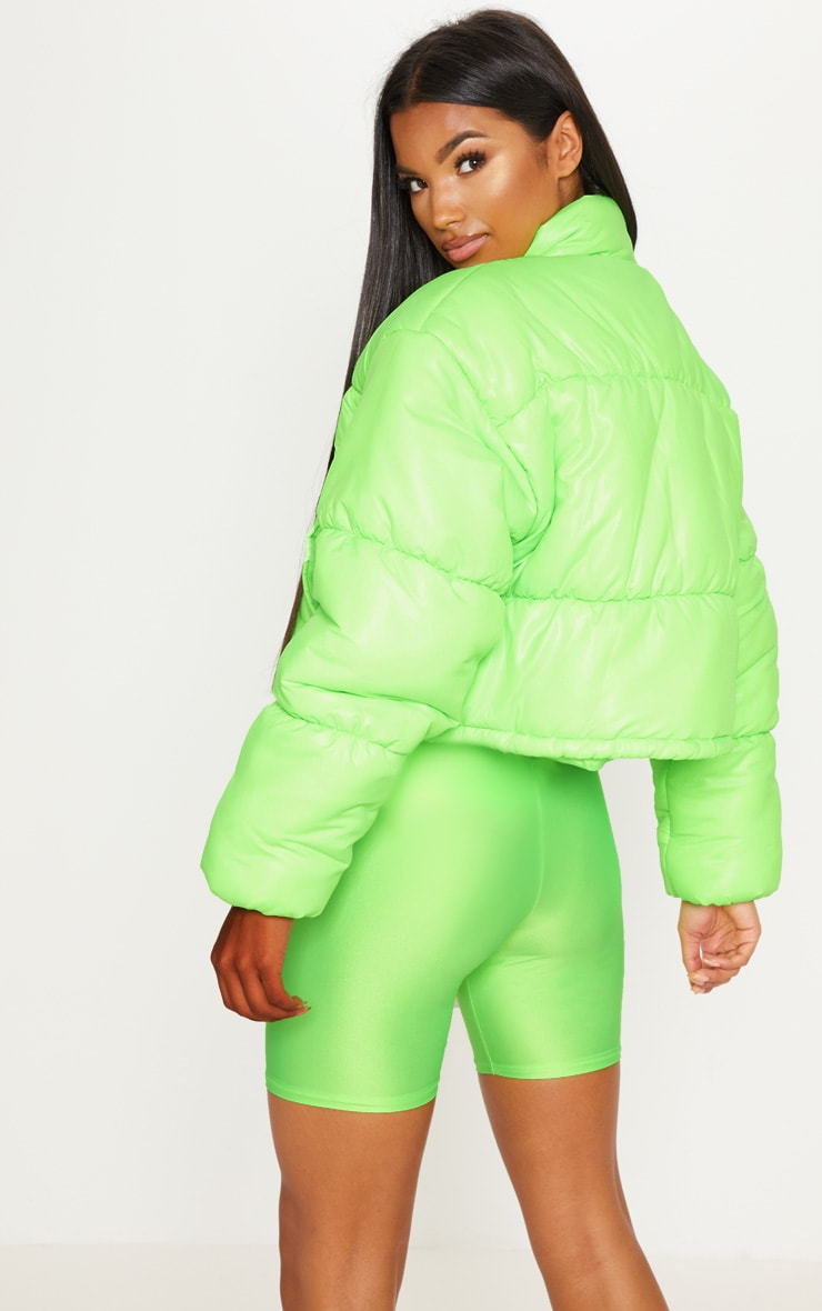 Lime Cropped Neon Puffer Jacket 2