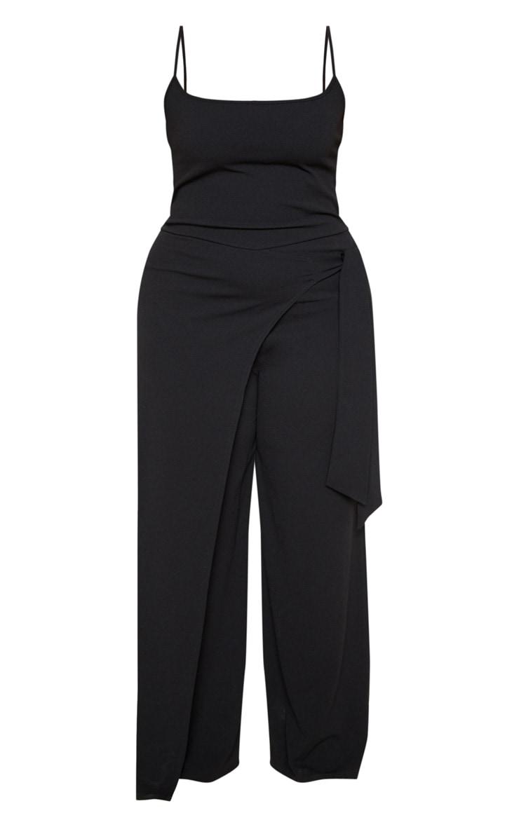 Plus Black Strappy Wrap Detail Wide Leg Jumpsuit 3