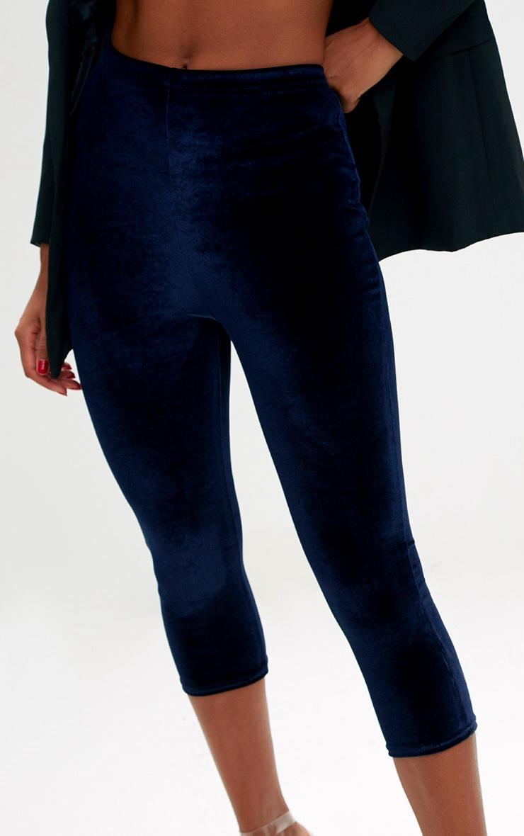 Navy Cropped Velvet Leggings 5