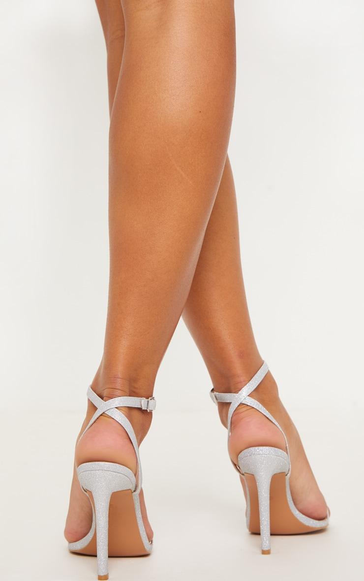 Silver Glitter Single Strap Sandal 2