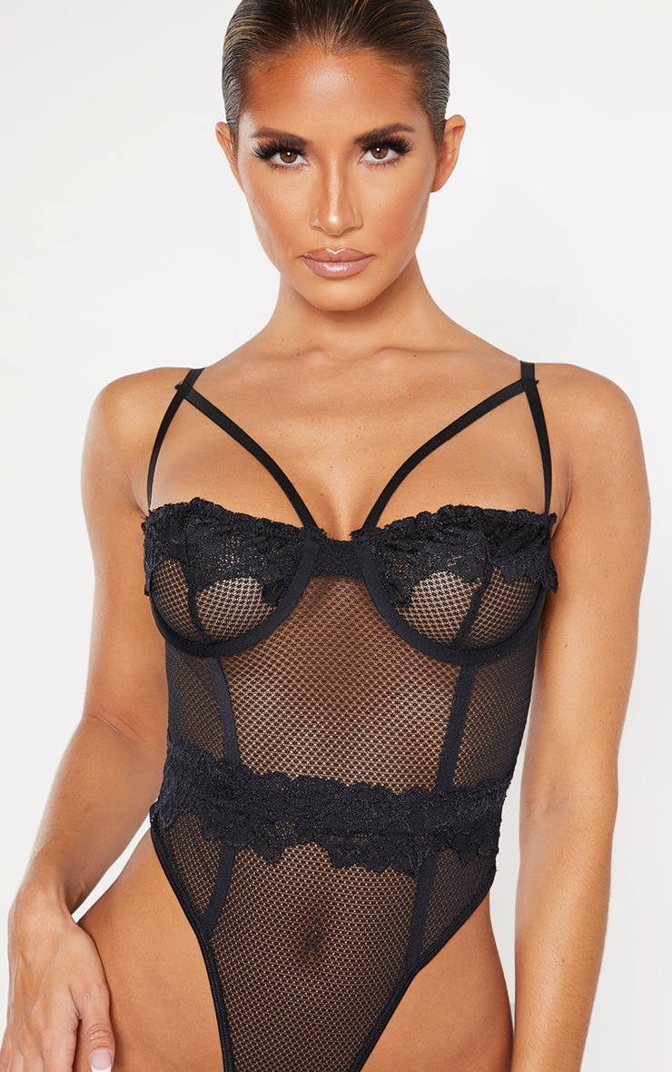 Black Harness Strap Demi Cup Fishnet Body 6