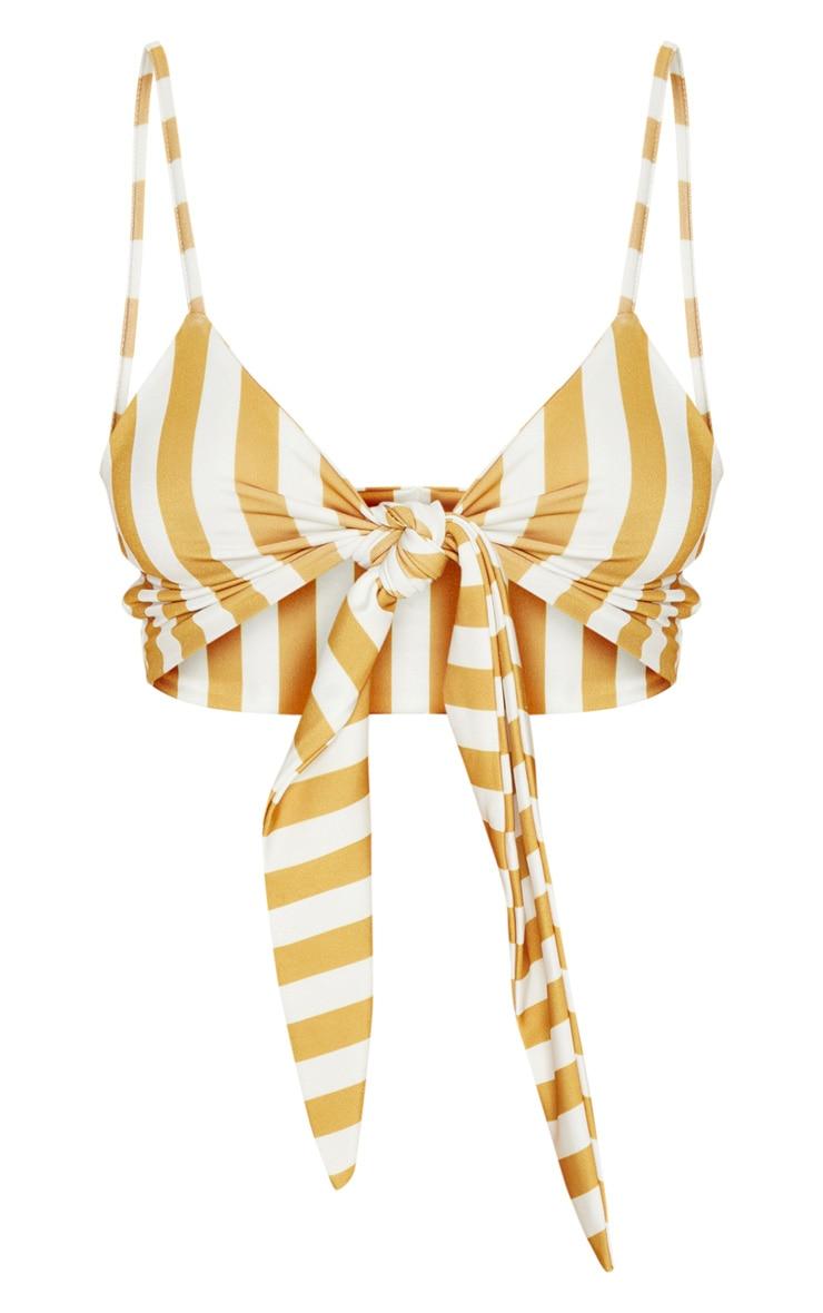 Mustard Stripe Tie Front Bikini Top 3