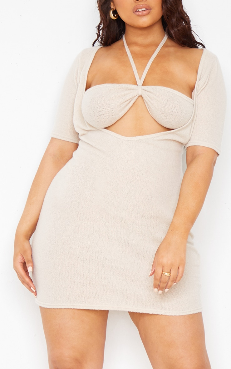 Plus Stone Sheer Brushed Knit Cut Out Halterneck Bodycon Dress 4