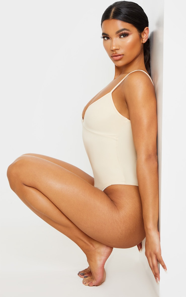 Sand Stretch Slinky Cup Detail Strappy Bodysuit 2