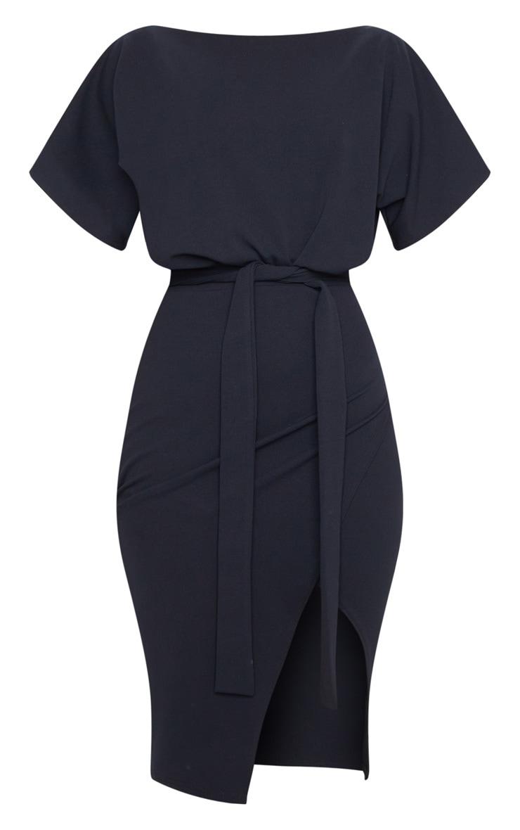 Wrap Front Black Kimono Sleeve Midi Dress 5