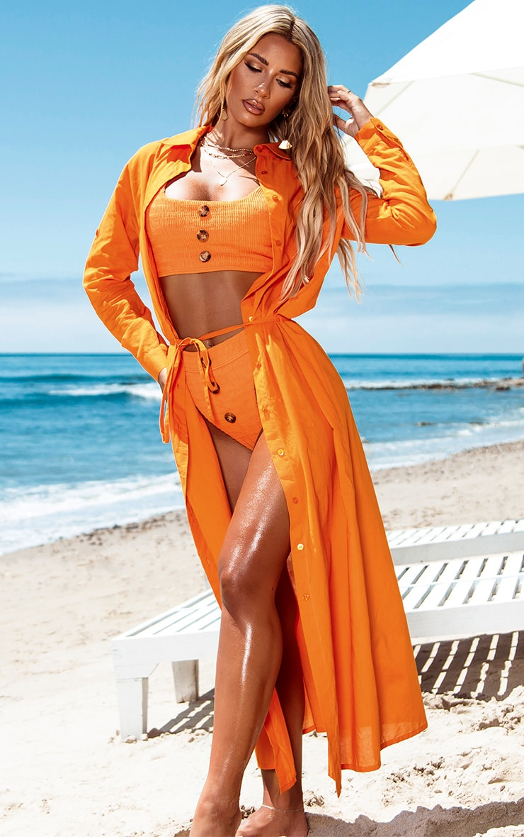 Robe de plage longue en coton orange  1