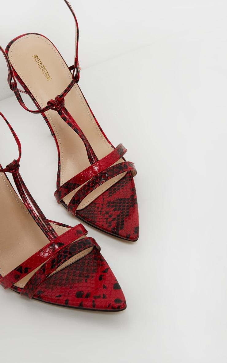 Sandales pointues rouge imprimé serpent à détail noeud 3