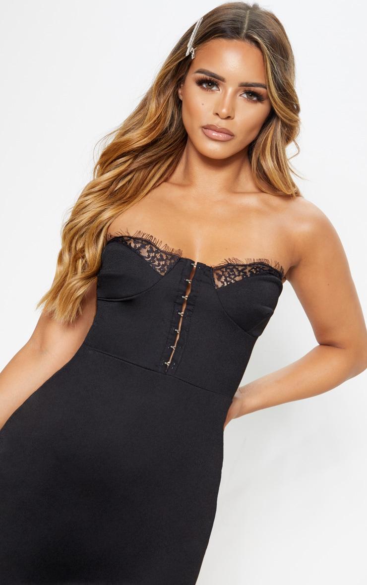 Petite Black Corset Lace Bandeau Mini Dress  5