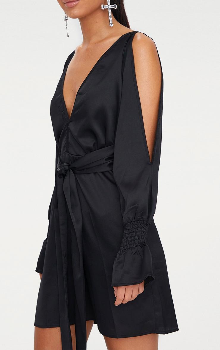 Black Satin Cold Shoulder Plunge Bell Cuff Bodycon Dress 5