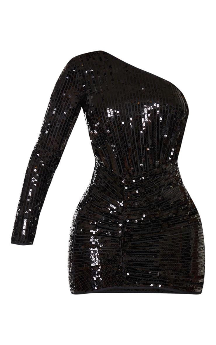 Black Sequin One Shoulder Bodycon Dress  3