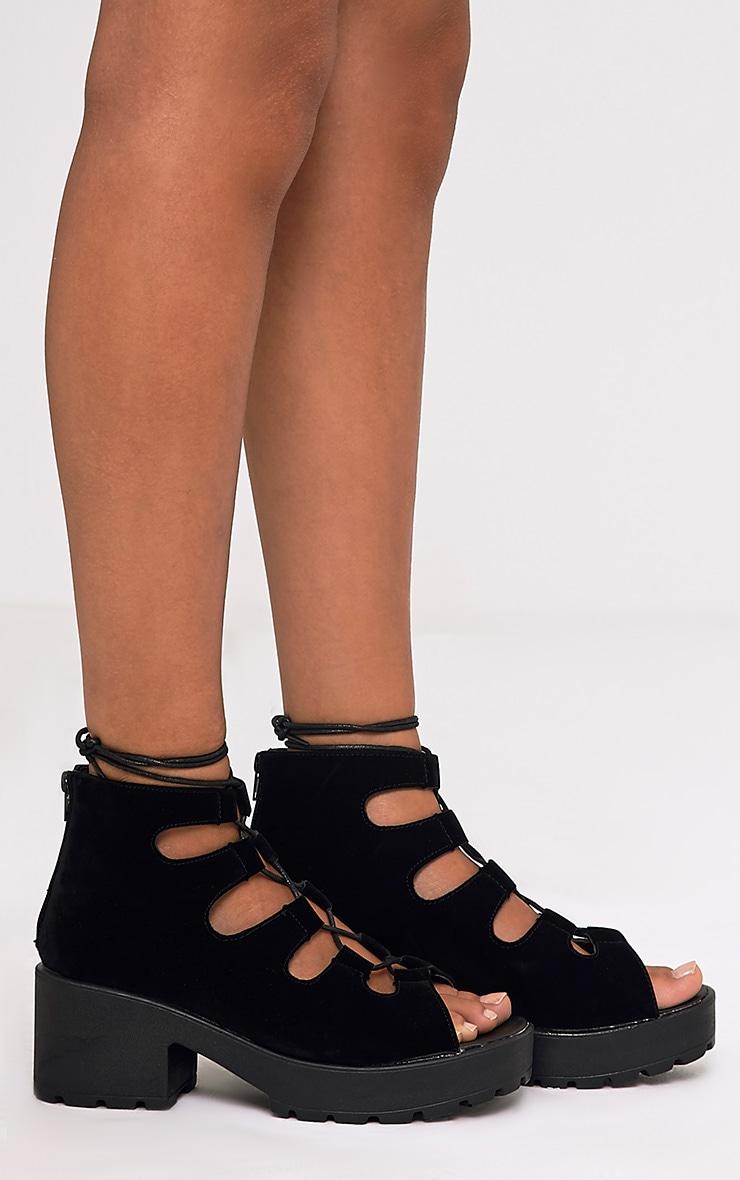 Caprice Black Faux Suede Lace Up Sandals 4