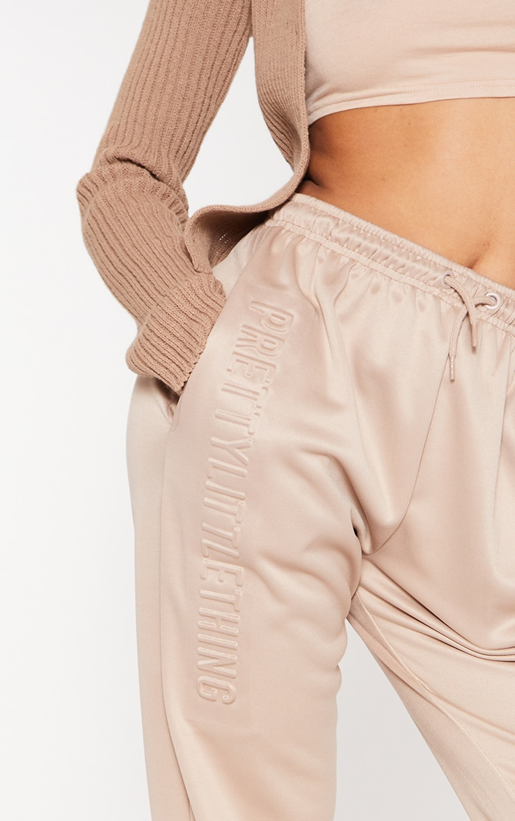 PRETTYLITTLETHING Stone Scuba Embossed Joggers 4