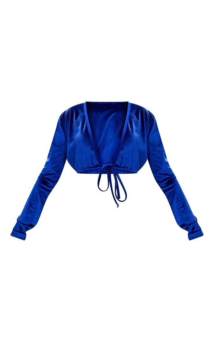 Cobalt Velvet Plunge Long Sleeve Crop top 3