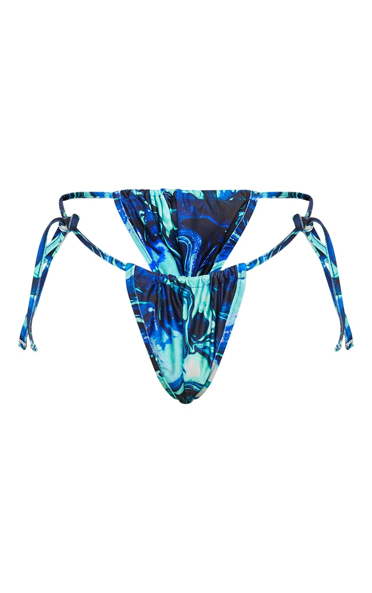 Blue Marble Mini Ruched Tie Side Bikini Bottoms 5