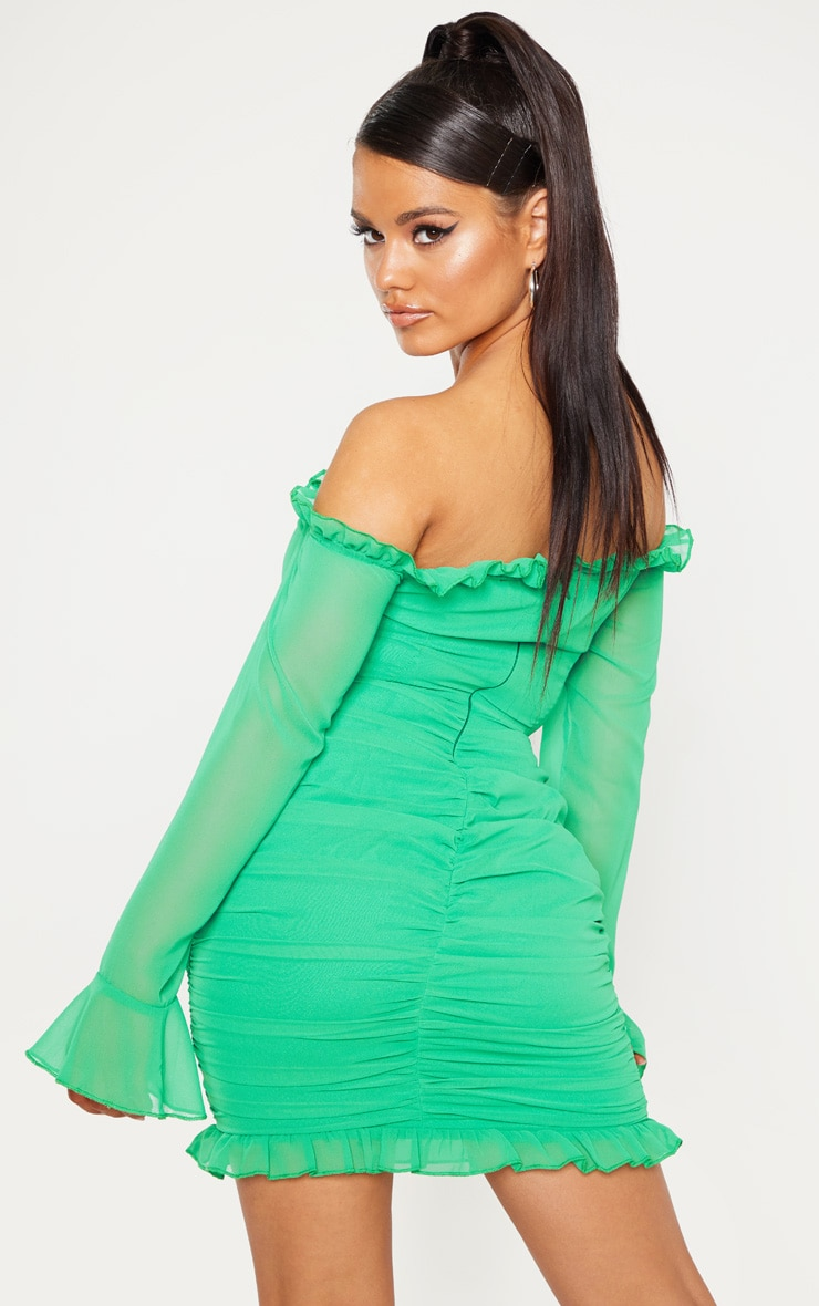 Petite Bright Green Bardot Frill Detail Ruched Dress 2