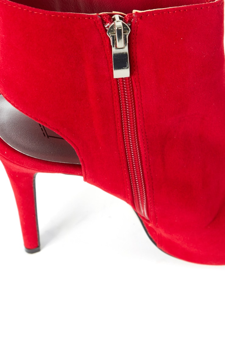 Lola Red Peep Toe Cut Out Ankle Boot 6