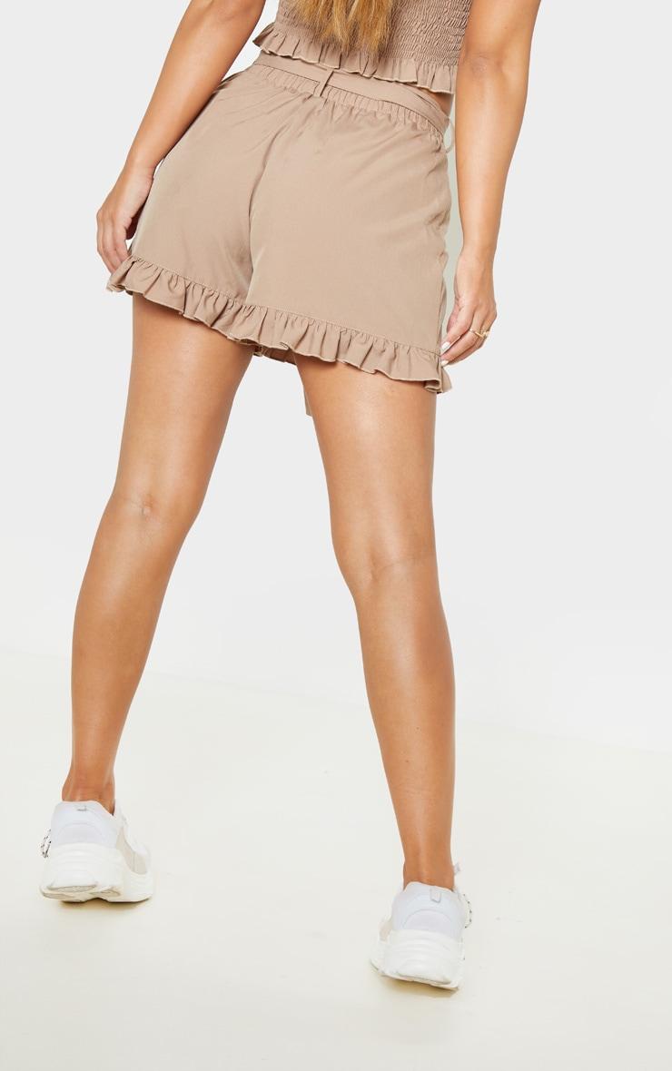 Petite Brown Frill Hem Elastic Waist Tie Detail Shorts 4