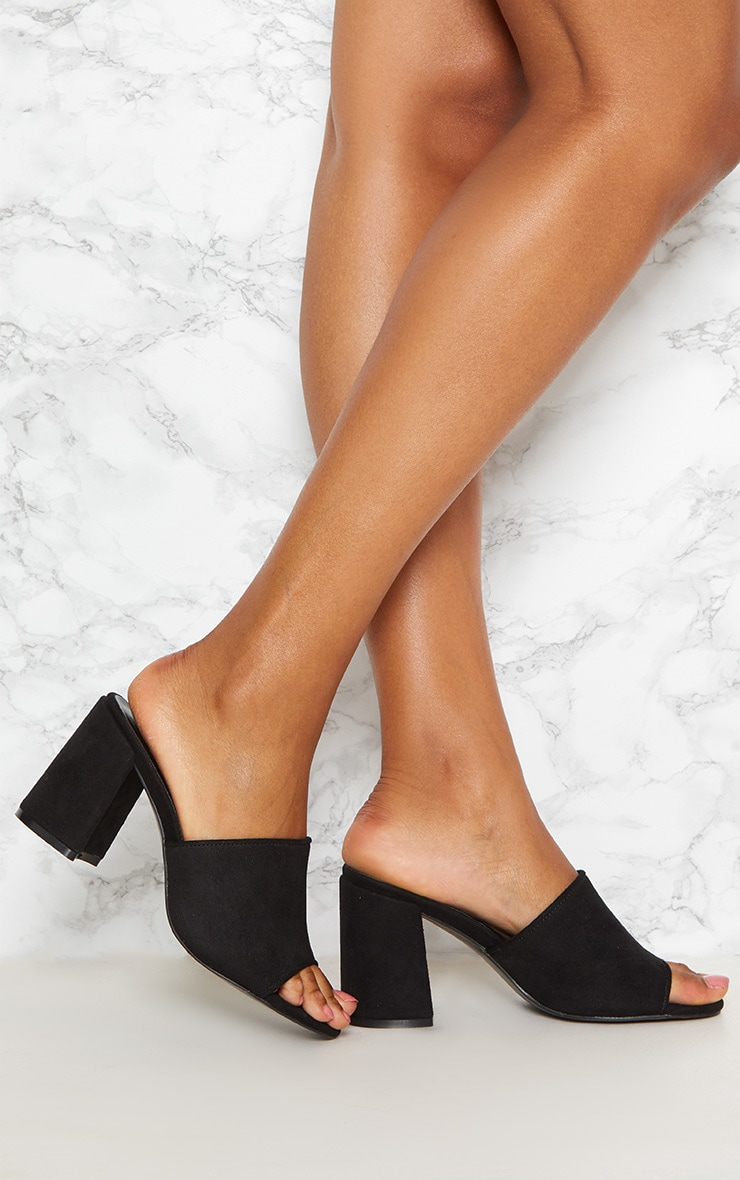 Black Block Heel Mule