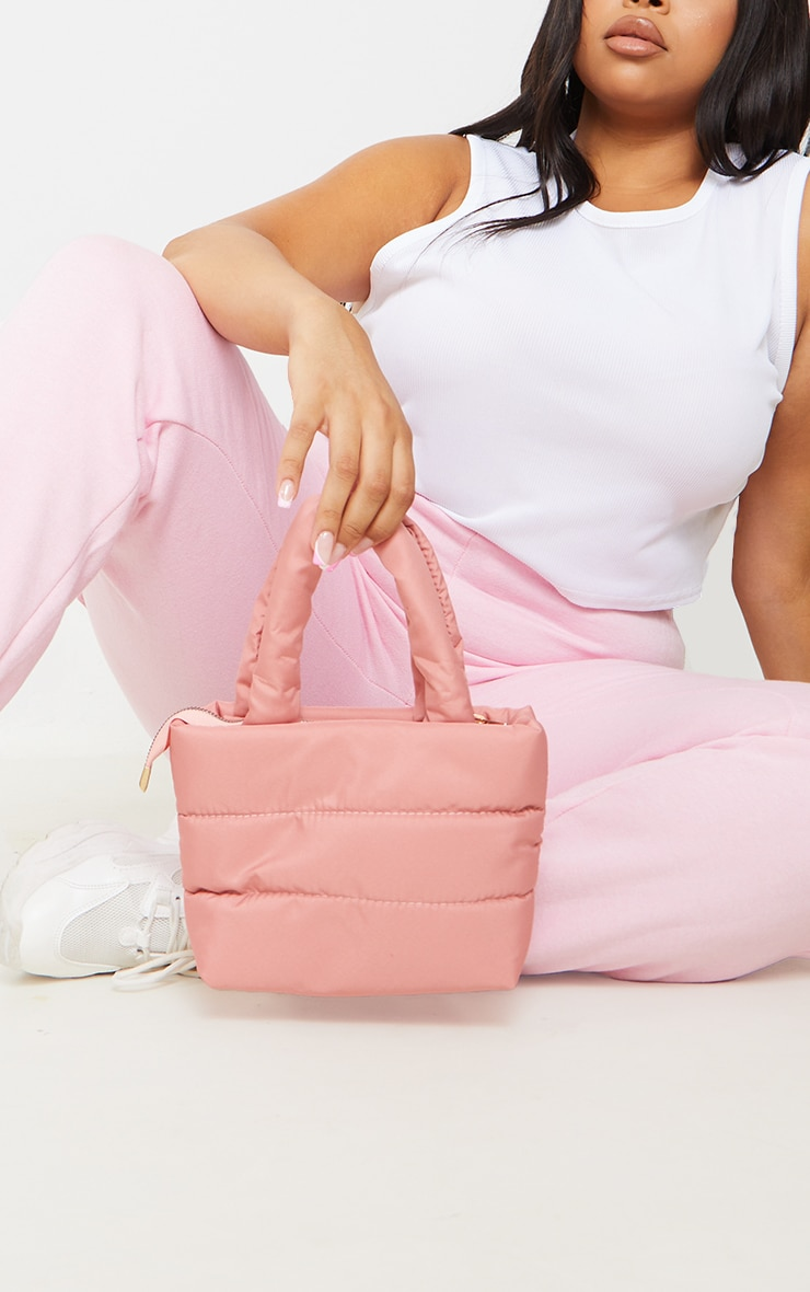 Baby Pink Mini Quilted Nylon Tote Bag 1