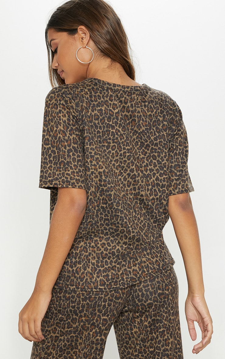 Brown Knitted Oversized Leopard Top  2