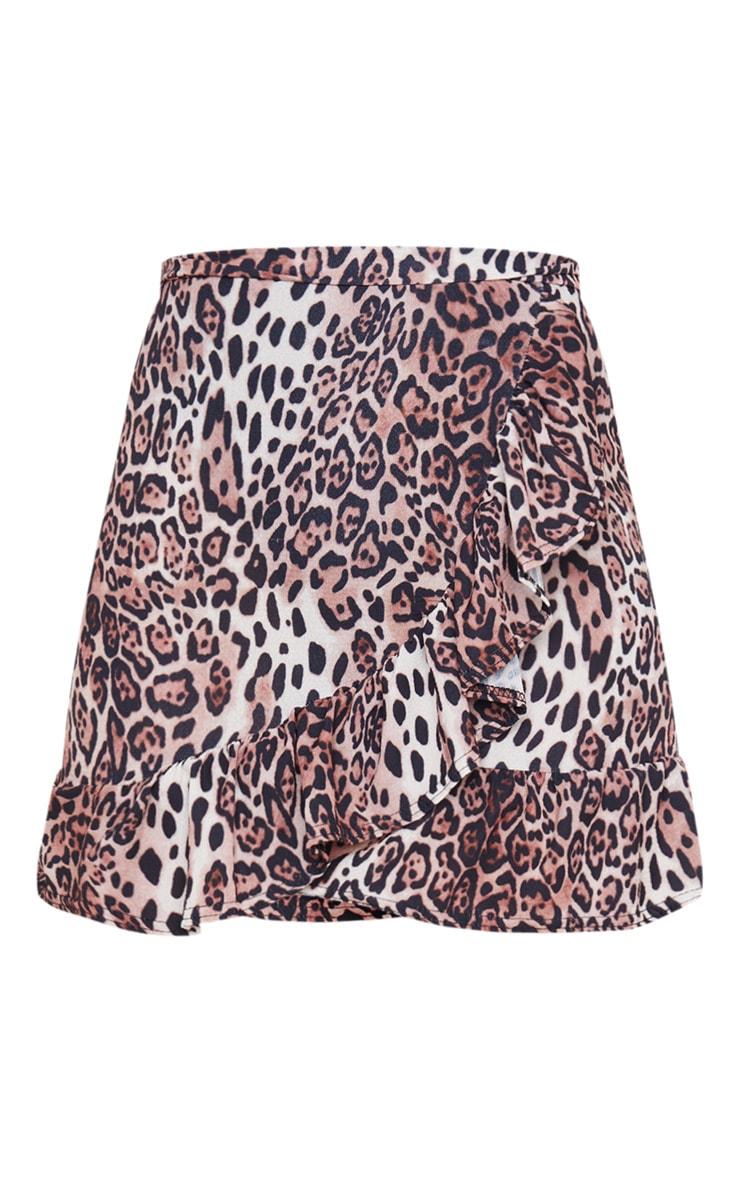 Leopard Print Frill Hem Wrap Mini Skirt 6