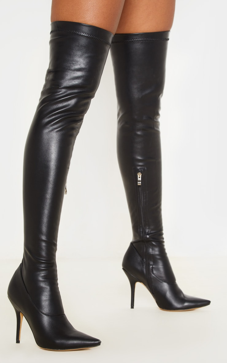 Black PU Thigh High Sock Boot 1