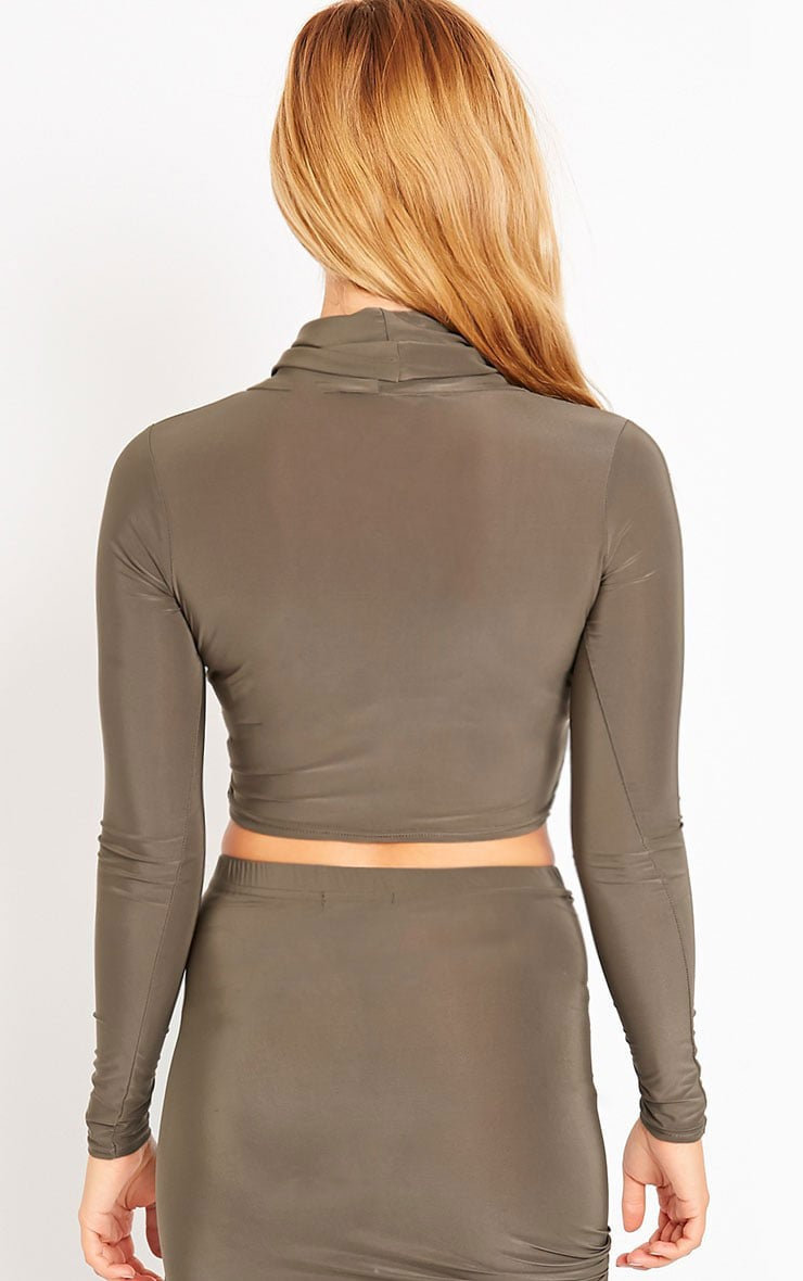 Alba Khaki Roll Neck Crop Top 2