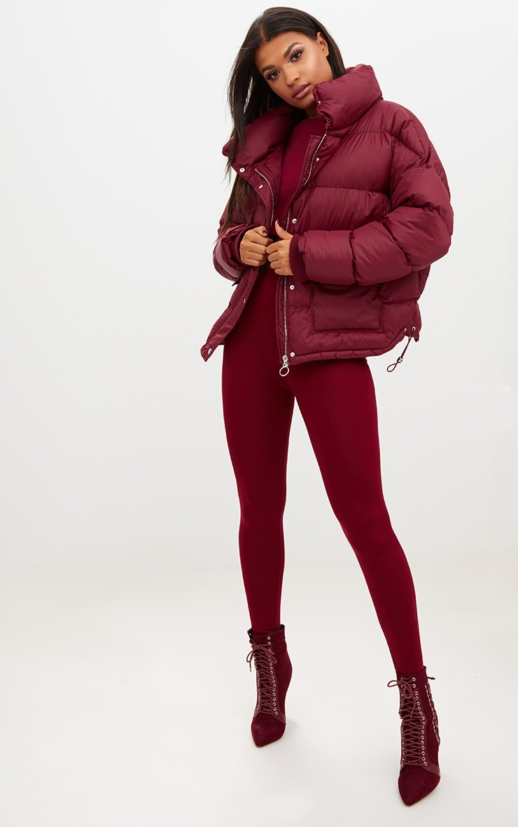 Burgundy Oversized Puffer Jacket with Button Pockets 4