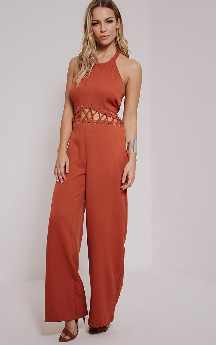 Hailie Burnt Orange Lace Front Jumpsuit 4
