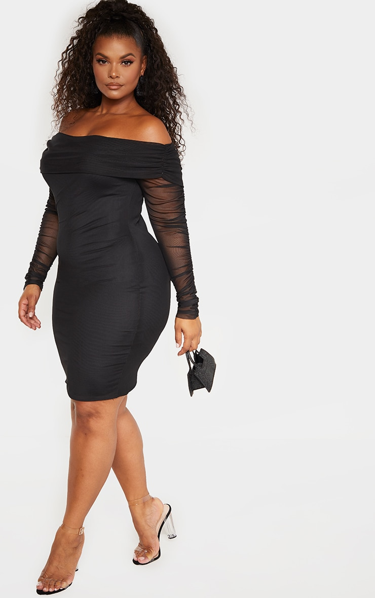 Plus Black Ruched Bardot Mesh Midi Dress 4