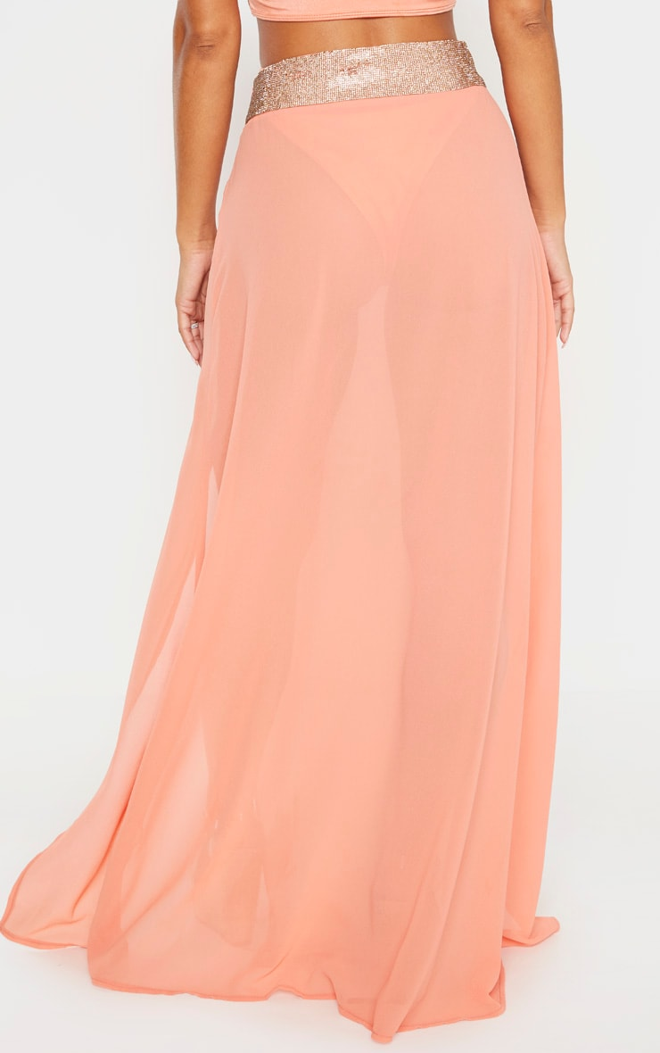 Peach Diamante Waist Split Beach Skirt 4