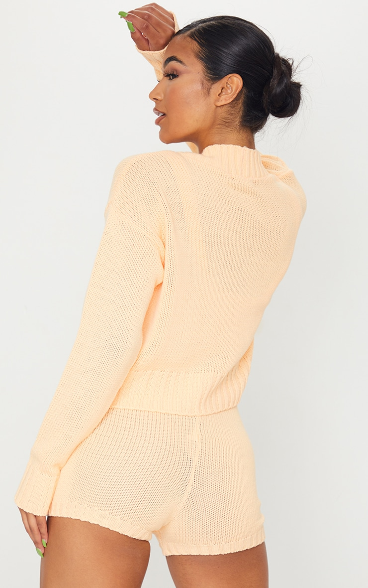 Peach Knitted Button Crop Cardigan 2
