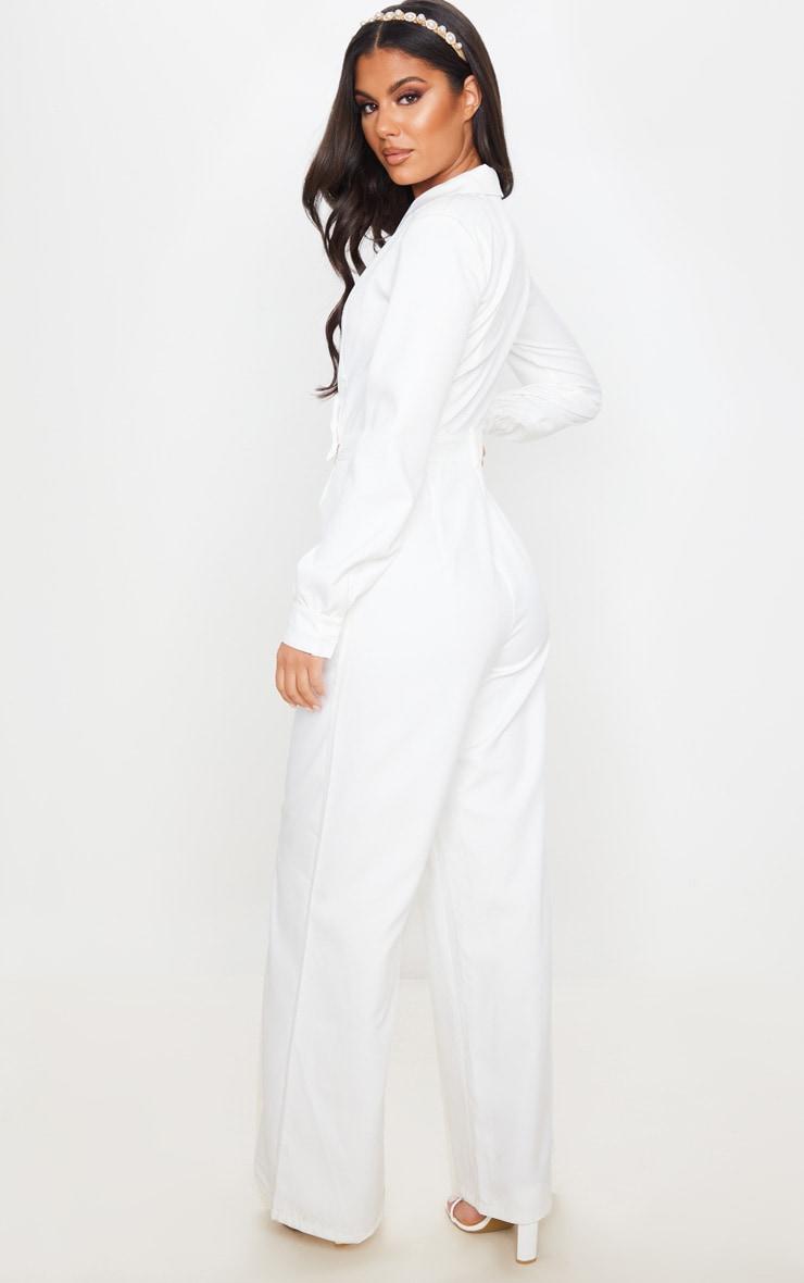 White Tailored Blazer Jumpsuit 2