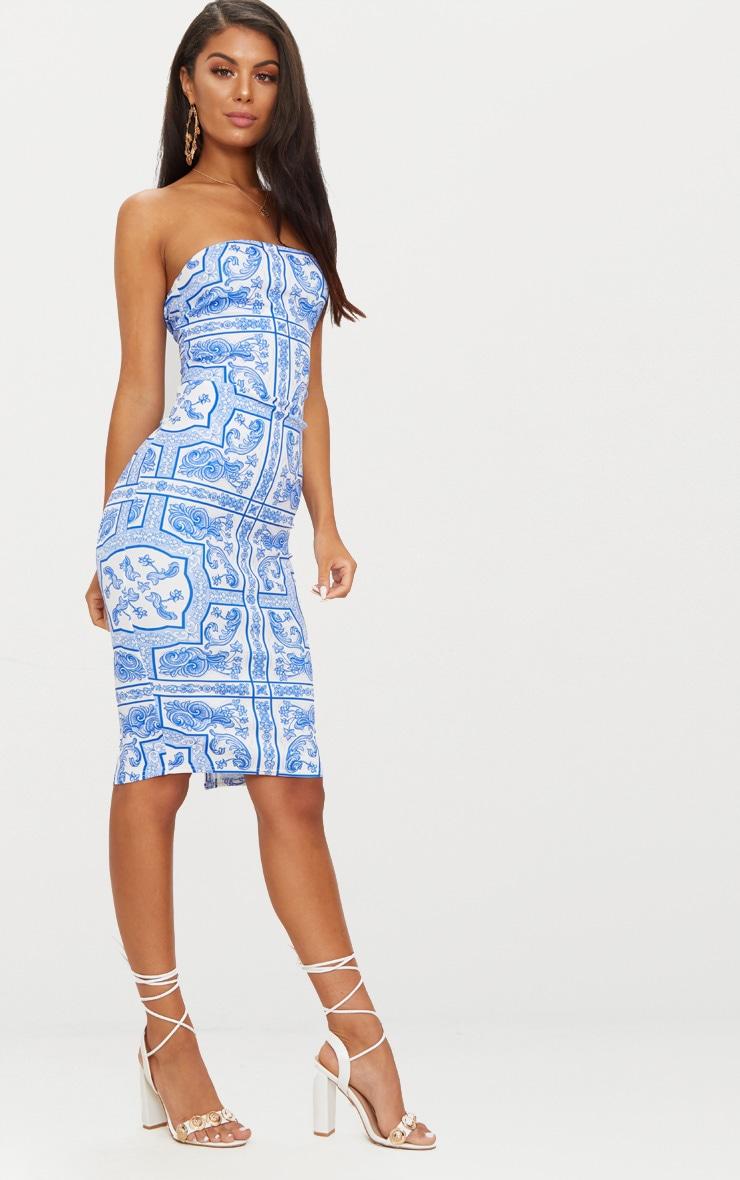 Blue Tile Print Bandeau Midi Dress 4