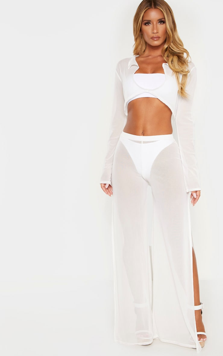 White Knot Front Mesh Beach Top 3